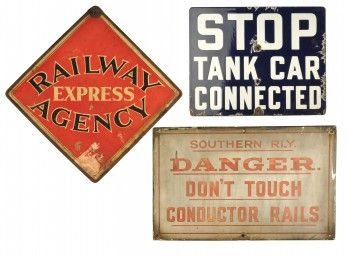 """Group of three railroad related signs. 1 - Railway Express Agency Carboard sign in metal frame. Both sides have fading and damage - 14"""" x 14"""" (19"""" diagonal). 2 - Southern Railway - DANGER - Don't Touch Conductor Rails Warning Sign. Heavy metal sign shows soiling and wear - 20"""" x 12.5"""". 3 - STOP Tank Car Connected Warning Sign. Single sided porcelain cobalt sign with chips at edges and mounting holes - 15"""" x 12"""" Size: varies"""