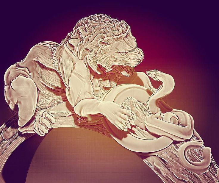 "jewellery_planetКольцо "" Lion vs Snake "" совместно c @goncharov.Igor #ring #lion #snake #lionvssnake#gold #jewellery_planet #Russian #Moskow #Москва #Россия #эксклюзив #золото #змея #кольцо#лев#змея #левпротивзмеи #exclusive #art #render#3D"