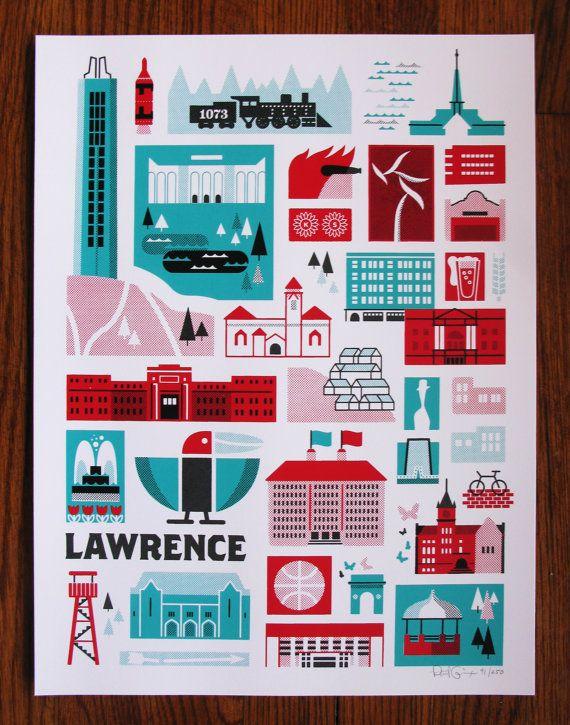 New Lawrence Kansas Landmark Print by PatrickGiroux on Etsy, $25.00