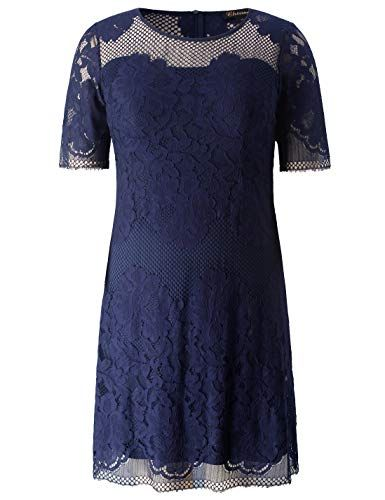 f097263589 Chicwe Women s Plus Size Lined Floral Lace Dress – Knee Length Casual Party  Cocktail Dress 3X