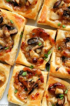 Caramelized Onion, Mushroom, Apple & Gruyere Bites  2 tbsp. oil,1 onion,4 oz.mushrooms,    2 tbsp.butter,1 1/2 apples,1 tsp. sugar,   1 1/2 oz. grated gruyere,2 tbsp. chives,    1/2 tsp. dried thyme,1 package puff pastry,1 egg, Oven 400° Cook onions+1 tsp. salt in oil.Sauté mushrooms.Melt butter+add apples+sugar 10 min.Mix all.Bake 25 min.