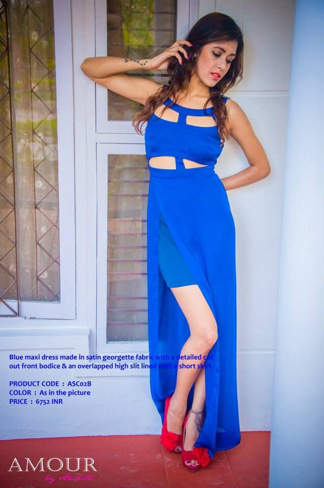 Blue maxi dress in satin georgette fabric with a detailed cut out front bodice & an overlapped high slit lined with a short skirt