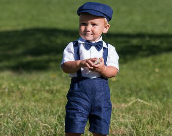 Newsboy ring bearer outfit Baby boy linen suit Baptism by Graccia