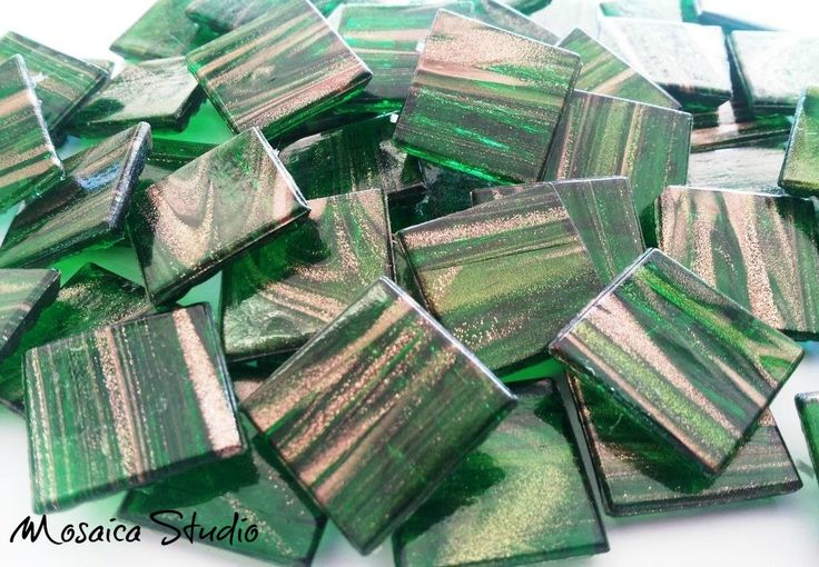 Emerald Green Gold Thread Tiles 20x20x4mm x50pc by MosaicStudio1 on Etsy