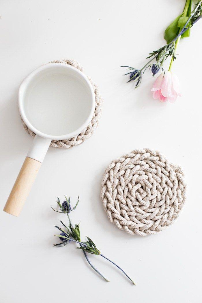 DIY Finger Knit Rope Trivet Tutorial - Flax & Twine
