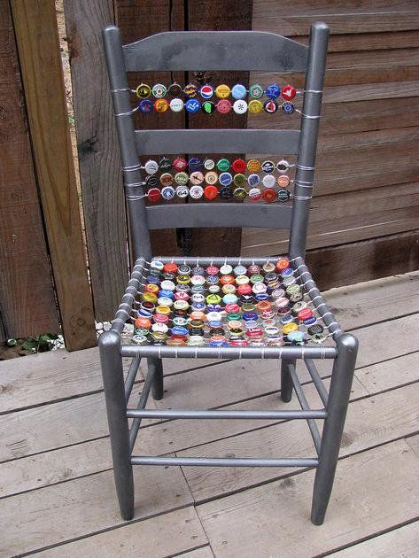 bottle cap chair, can you tell I have a bag of used bottle caps that I want to make something out of?