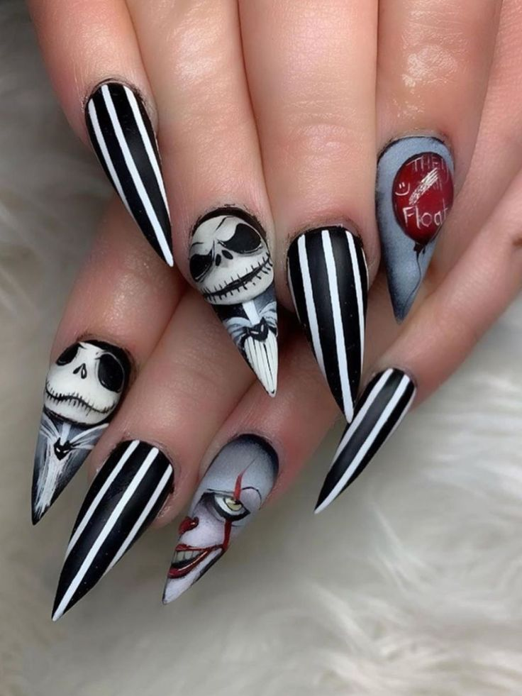Spooky Halloween stiletto nails 2019 | Nails, Pretty nail ...