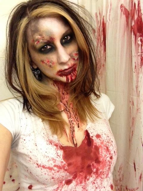 Zombie makeup I applied on myself.