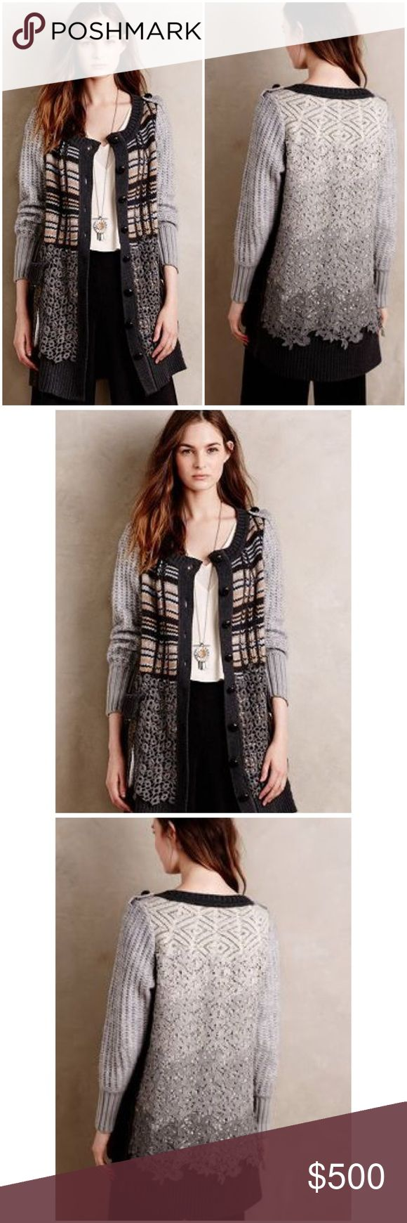 Anthropologie Byron Lars Jalea Cardigan San Francisco native Byron Lars has been part of the fashion landscape since his 1991 debut collection garnered an uproar of praise. With each collection since, he's proven his mastery of fit by crafting body-conscious silhouettes that toe a careful line between coquettish and ladylike, all while being nearly universally flattering.❤️ From Byron Lars Beauty MarkPolyester, acrylic, wool, viscose, mohair, alpaca knitLace back detailPatch pocketsButton…