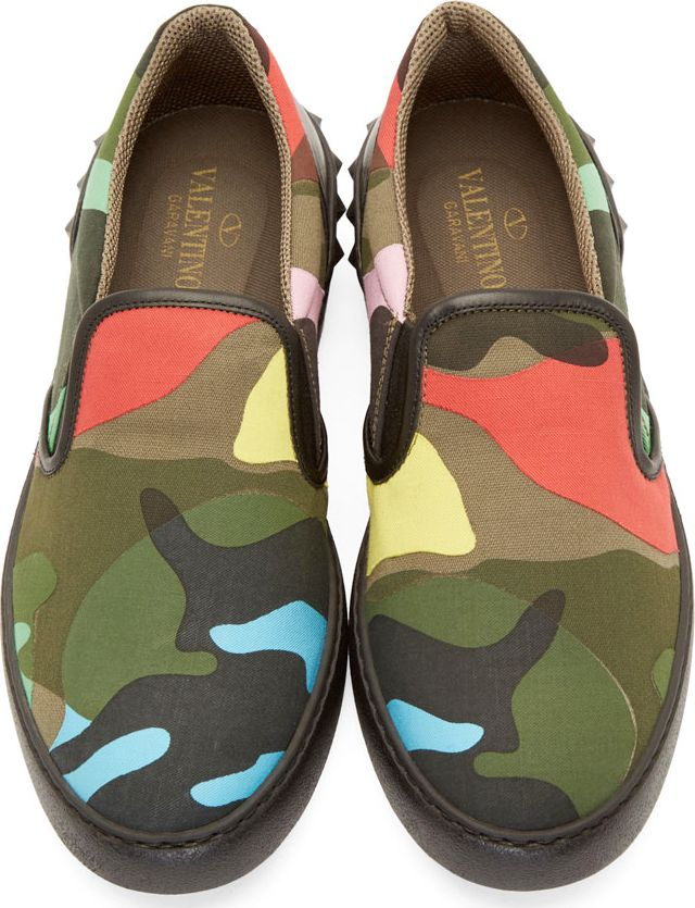 Valentino Red & Green Camouflage Slip-On Sneakers