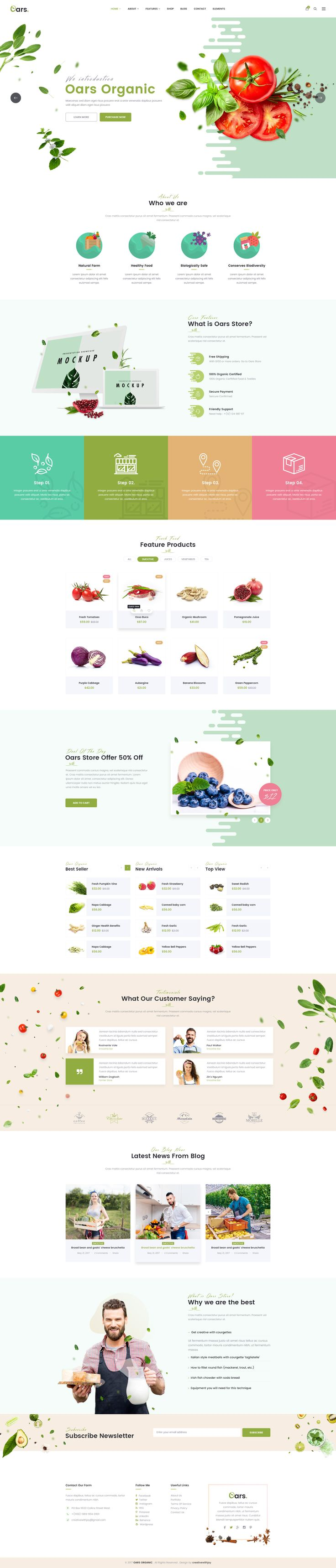 Oars - Organic Store , Smoothie , Fresh Food PSD Template #Fresh food #fruits #healthy food • Download ➝ https://themeforest.net/item/oars-organic-store-smoothie-fresh-food-psd-template/20209979?ref=pxcr
