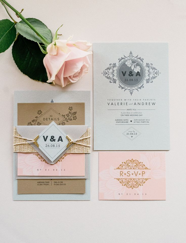 Beautiful wedding invitations by Paperknots. The soft pinks with the touches of gold and floral motifs make for a very elegant set of wedding stationery
