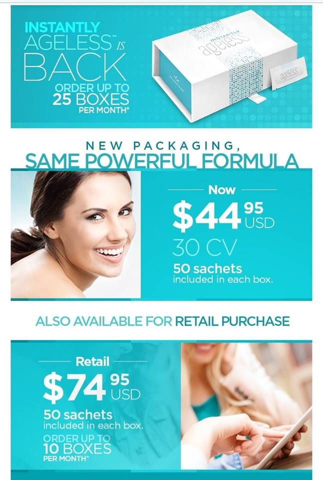 Instantly Ageless by Jeunesse $74.95 for a box of 50 sachets. Or $44.95 a box wholesale price with a one time membership of $49.95. Order it here http://www.agelesskateyes.jeunesseglobal.com