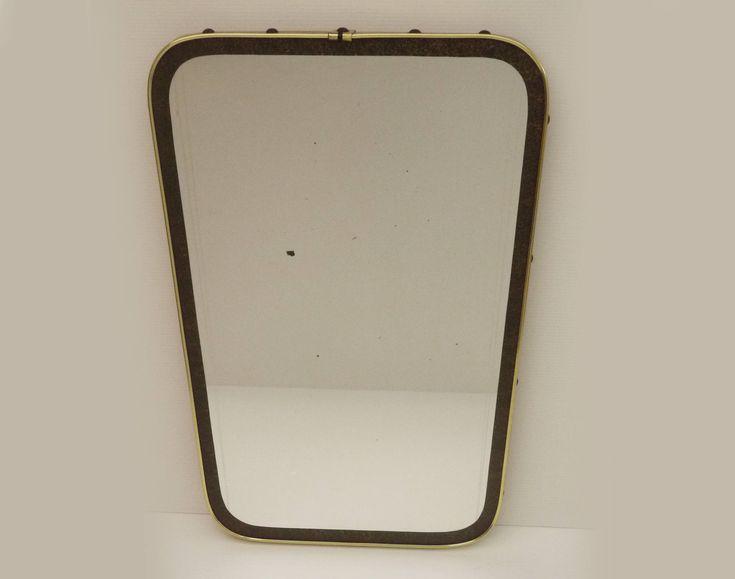 vintage grand miroir r troviseur s rigraphi ann e 50s miroir forme libre asym trique en laiton. Black Bedroom Furniture Sets. Home Design Ideas