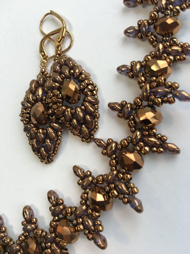 Antique Gold Beaded Set Golden Necklase Set by BeadFantasyBoutique