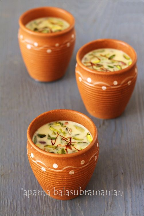 Thandai, an Indian almond spiced milk drink that celebrates the arrival of spring/ summer. Gluten Free, contains milk