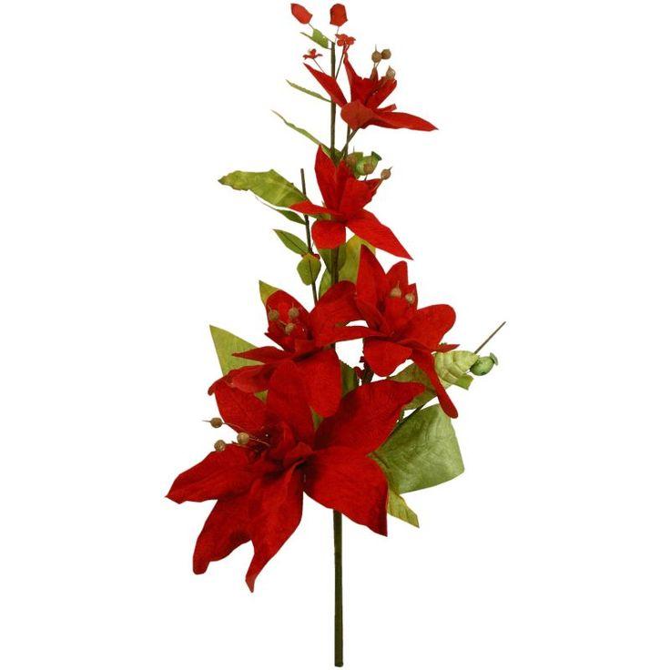 Umelý kvet - vianočná ruža kytica, na vianočný stromček a do dekorácií.