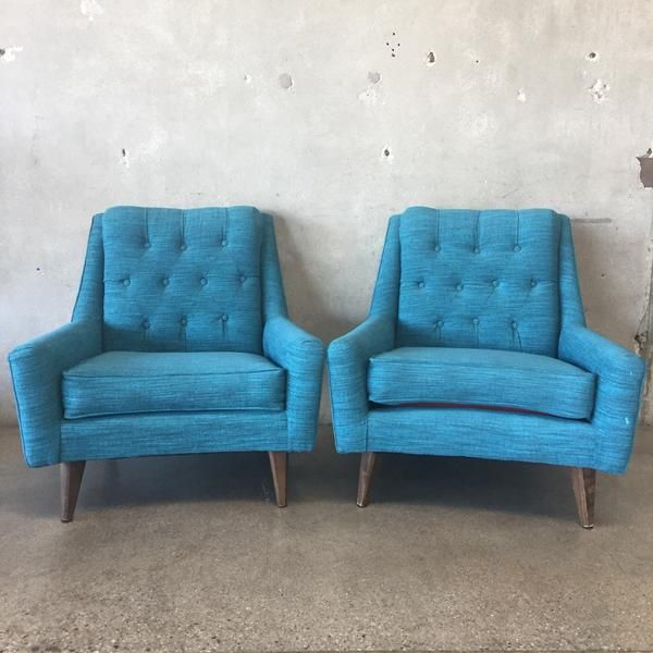 Pair of Mid Century Turquoise Chairs