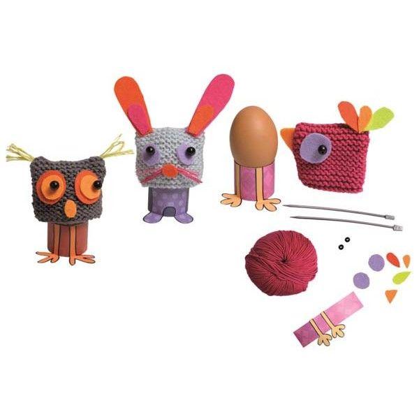 Kit créatif tricot enfant. Coquetiers avec chapeaux à tricoter.