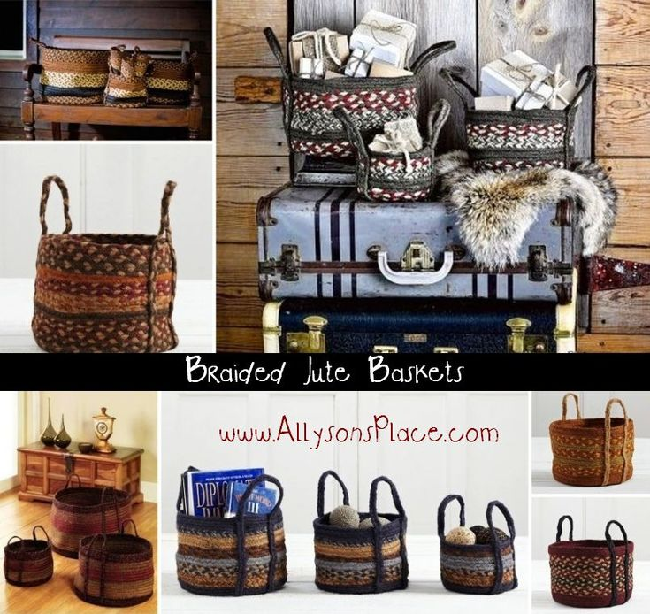 Jute Braided Baskets from www.allysonsplace.com / Like us on Facebook!!  www.facebook.com/allysonsplacedecor  / #Primitive #Country