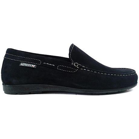 8404 zapato mocasín de pala lisa en ante color azul de Mephisto | Calzados Garrido