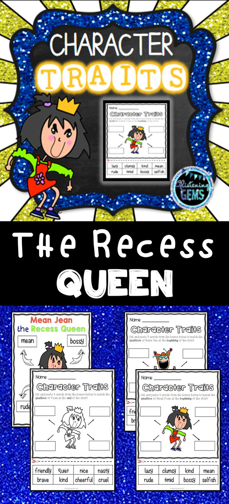 The Recess Queen Character Traits No Prep Printables - Great pack to use as a book companion.