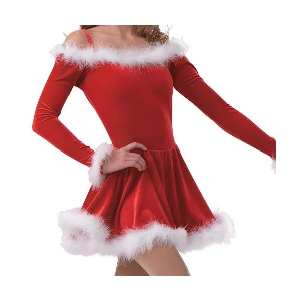 Holiday Dance Dress | Figure Skating Dress | Christmas Costumes ($69) ❤ liked on Polyvore featuring costumes, red costumes, holiday halloween costumes, holiday costumes, christmas costumes and cocktail costume