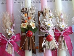 More traditional Greek Easter candles...inspiration for making similsr decorated candles for Easter as a DIY mini-project