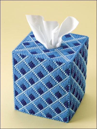 Add a peaceful touch to any room with this tranquil tissue box cover. Serene shades of blue come together in a diamond pattern that soothes the eye. its a timeless accessory for the home or office. The perfect way to have a tissue handy. You may want a different color scheme, if so just let me know. Fits a regular size boutique style tissue box. A new box of tissues will be included!  Made of 4-ply acrylic yarn ove plastic canvas. Lovingly hand stitched in the USA.   PLEASE FAVOR MY SHOP SO…
