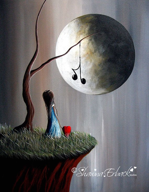 SURREAL ART PRINT  Tree Of Promise  Full Moon by shawnaerback, $15.00