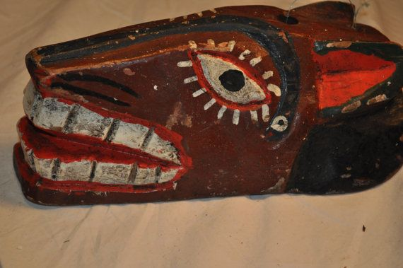 Hand carved painted Mayan animal mask by ShirasSalon on Etsy