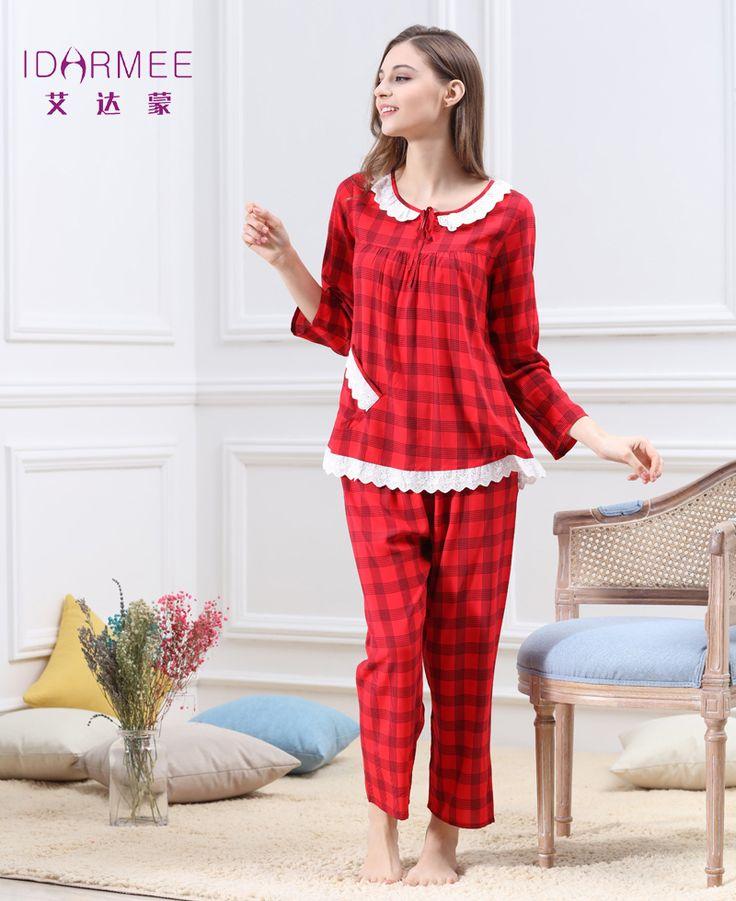 IDARMEE Nouvelles Femmes Pyjamas Définit Coton Femme Fille À  Manches Longues Chemise À Carreaux Lâche Plus La Taille de  D&eacute ...