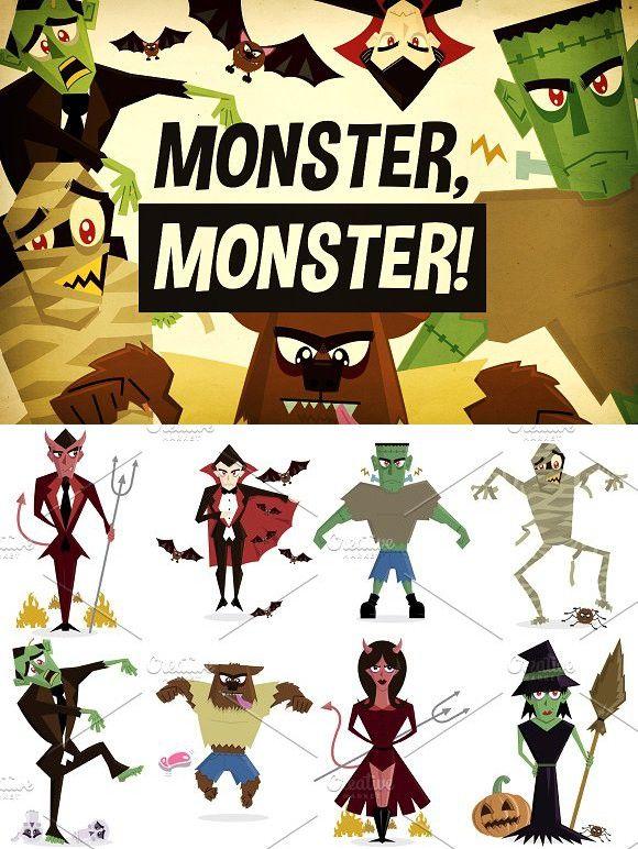 Monster, Monster! Halloween Vectors. Monster #monster #halloween