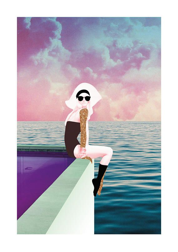 The Pool Collage Art Print