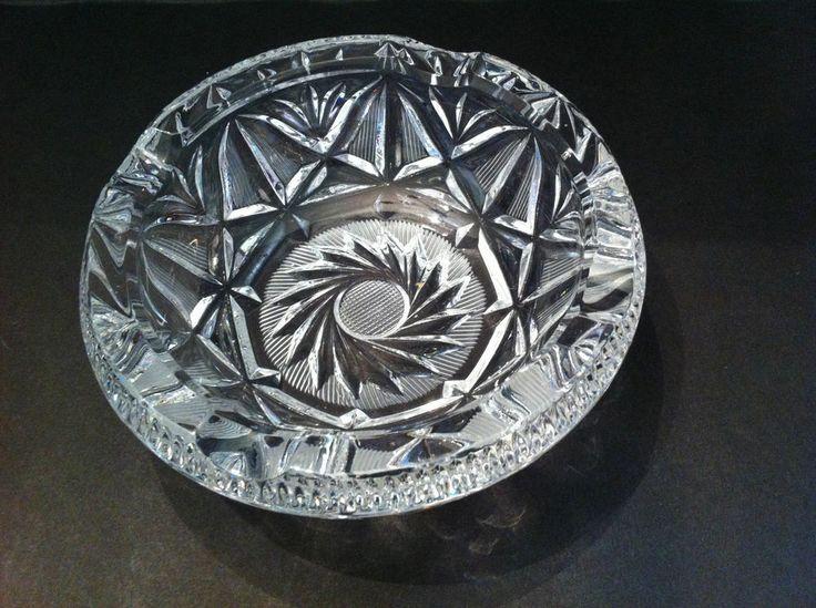 Vintage Heavy Crystal Hobster Pinwheel Cut Cigar Tray Ashtray