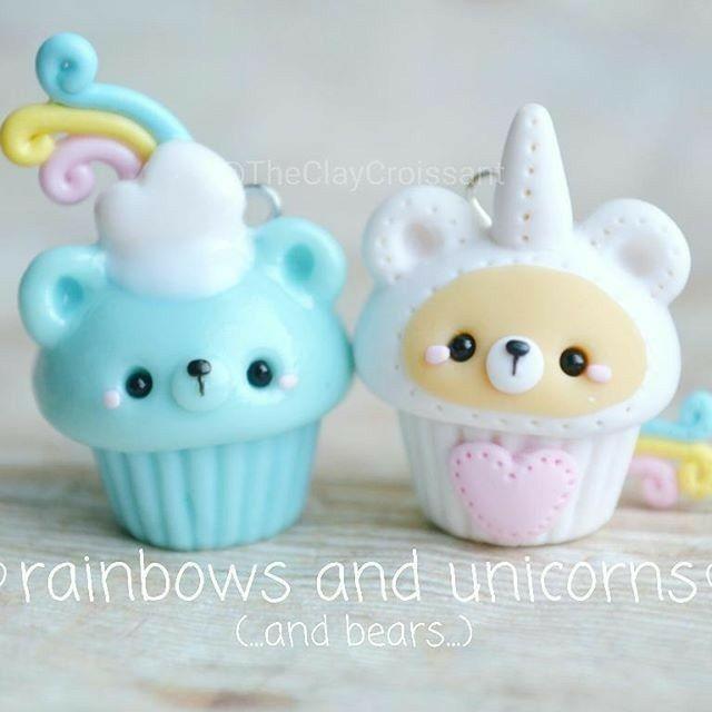 Rainbow Blue Bear and Unicorn Plush Cupcake//@TheClayCroissant
