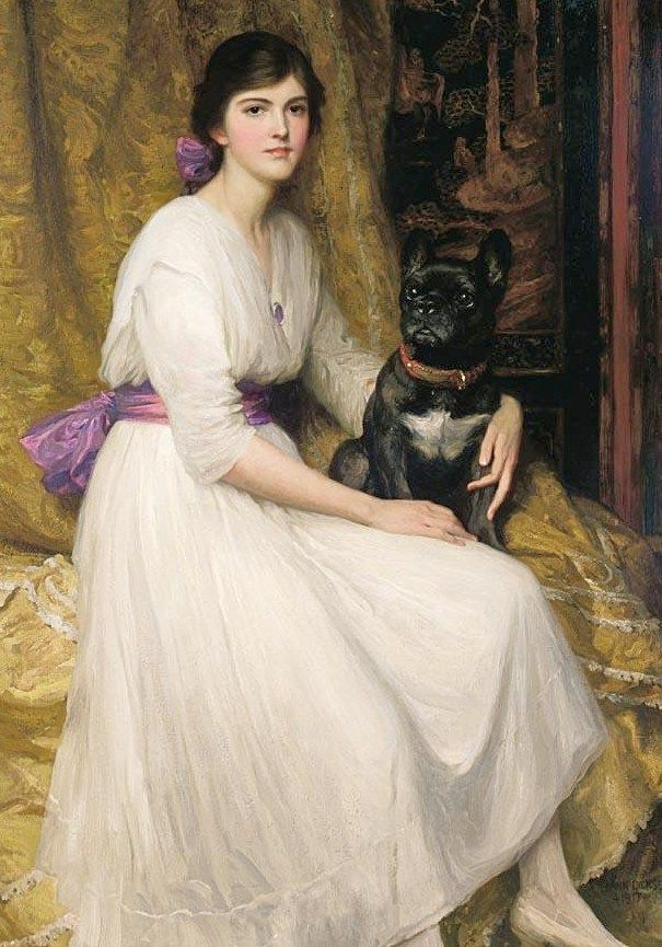 ⍕ Paintings of People & Pets ⍕  Frank Dicksee | Young Woman and her Pet