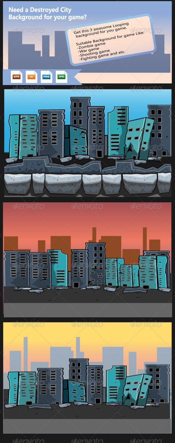 Destroyed City- Game Background Download at: https://graphicriver.net/item/destroyed-city-game-background/8179124?ref=KlitVogli