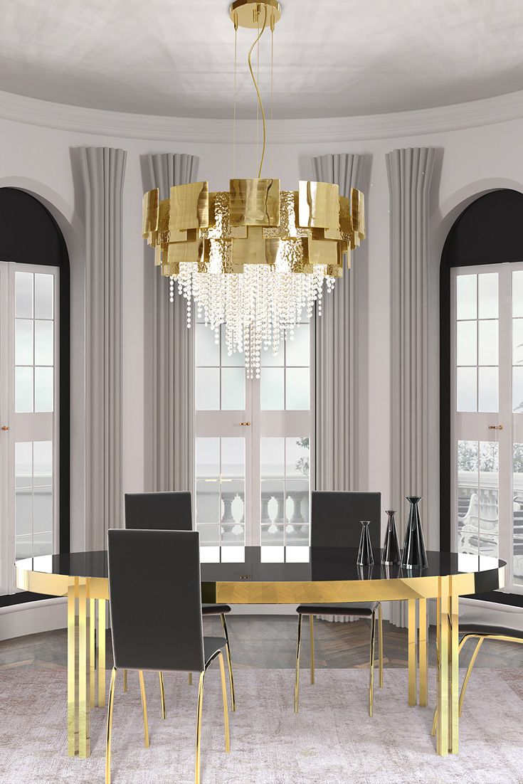 Italian Designer Gold Plated Crystal Chandelier In 2019