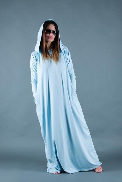 ed73ec8476ab Light Blue Hooded Dress, Loose Fit Dress, Long Cotton Dress, Casual Maxi  Dress