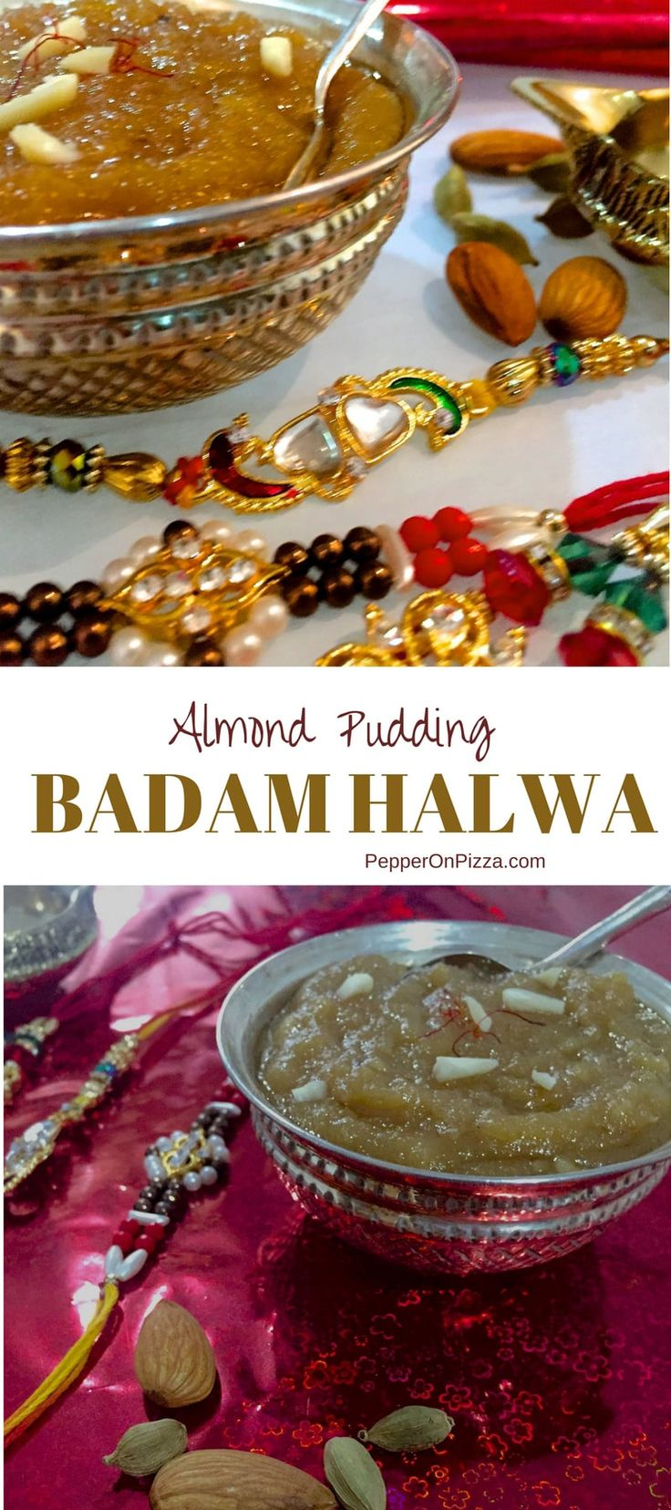 An easy and delicious sweet to add to a festival platter. Ground almonds sautéed in ghee, sugar and milk and flavoured with saffron and cardamom - this Badam Halwa is a rich and tasty sweet. Serve it hot, garnished with slivers of toasted almonds.