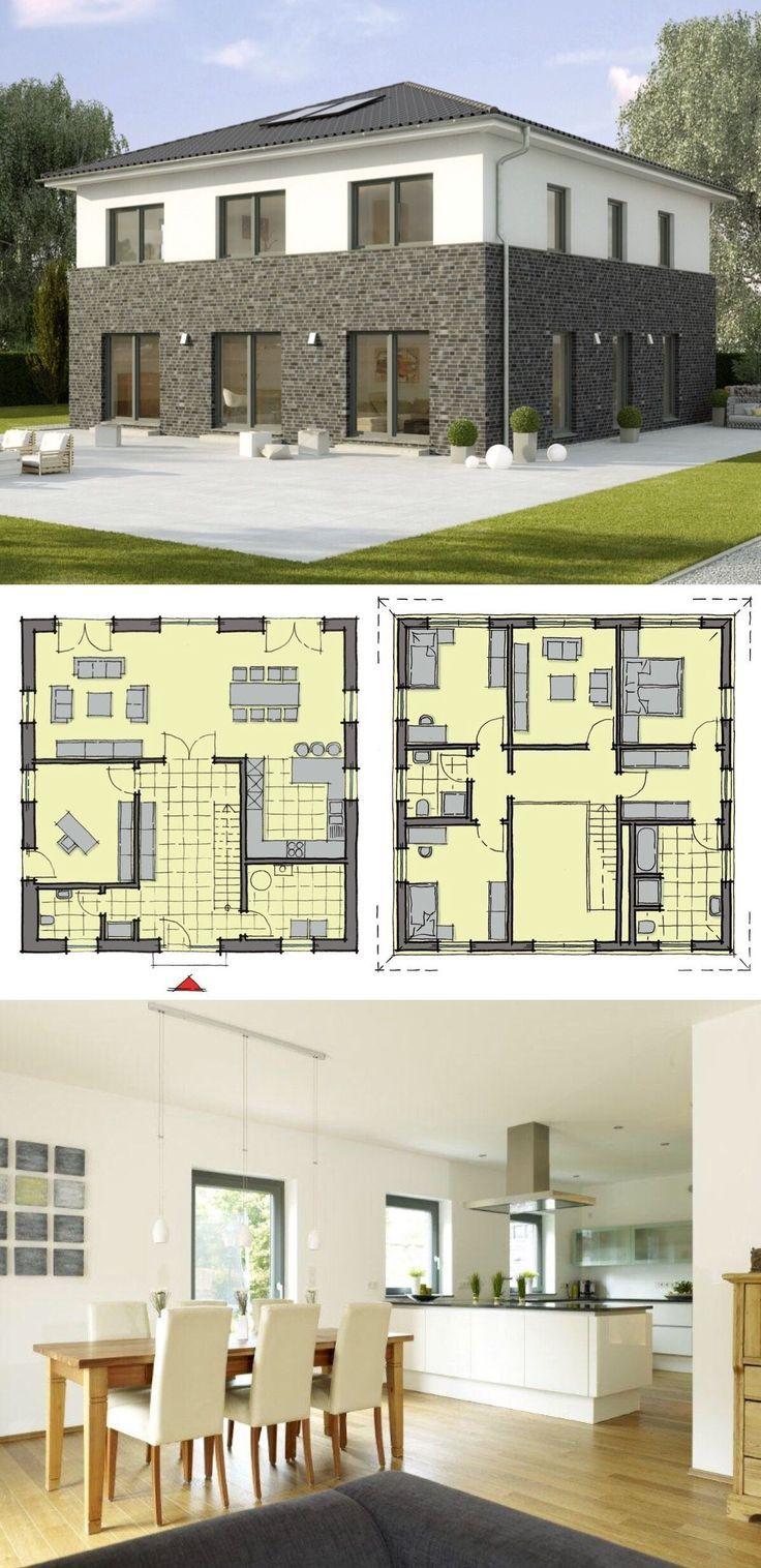Neubau Stadtvilla mit Klinker Putz Fassade, Zeltda…