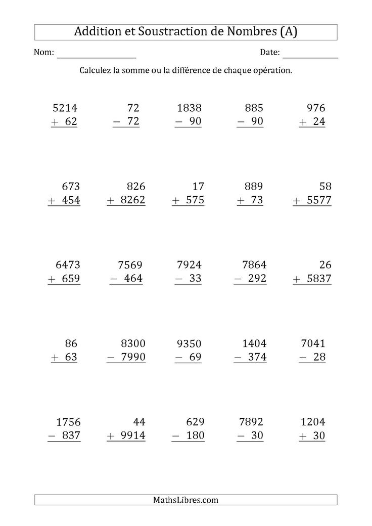 """La fiche d'exercices de maths """"Addition et Soustraction des Nombres à 2, 3 et 4 Chiffres (A)"""" de la page des Fiches d'Exercices sur les Opérations Mixtes."""