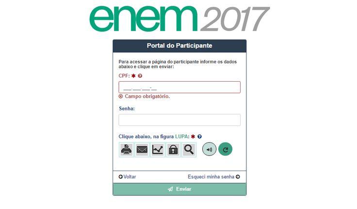 Página do Participante do Enem 2017