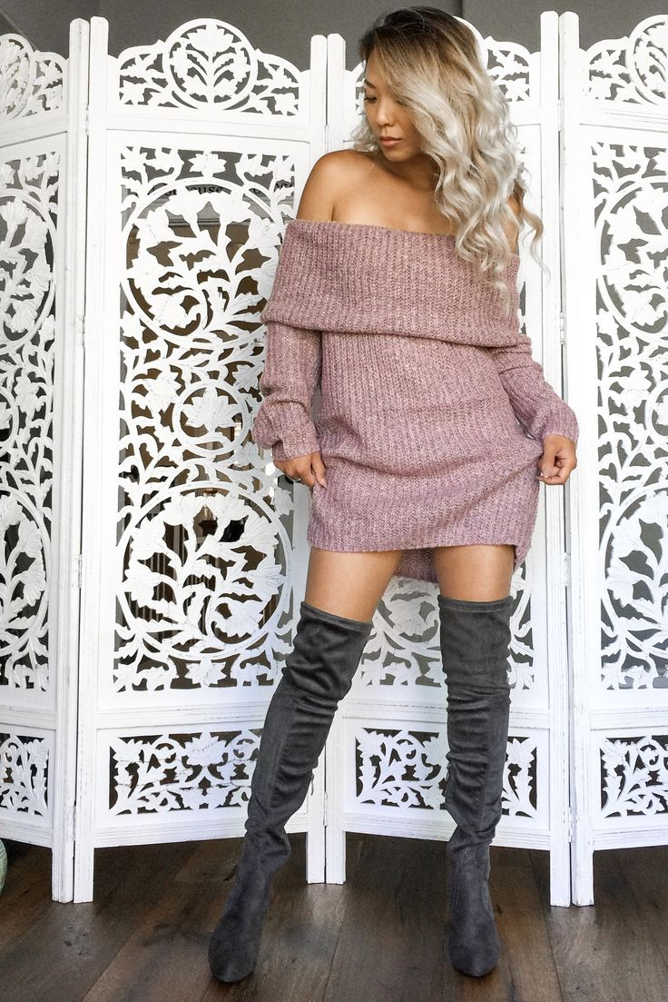 Monica Off Shoulder Sweater-Rose