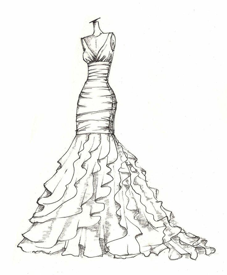 weddinng dress illustration. $89.00, via Etsy.