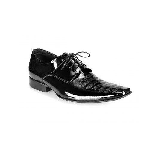 Pánske kožené spoločenské topánky lesklé čierne PT162 - manozo.hu