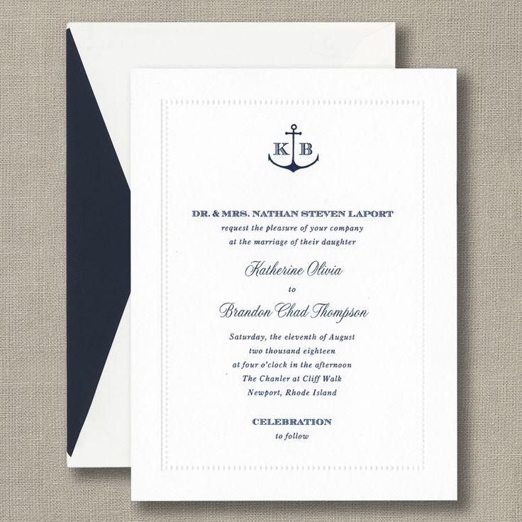 White Beaded Border Invitation with Monogram