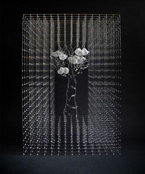 Eunsuh Choi, The Limited Barrier II  Flameworked, Borosilicate Glass, Sand-Blasted 16* 20* 6 in