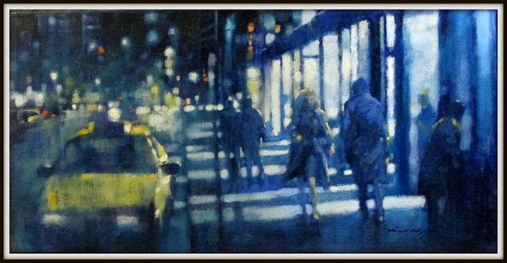 "David Hinchliffe  ""Night Lights, New York""  Oil on Canvas. 18""x 36"""